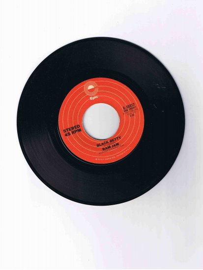 "Ram Jam 45rpm single, ""Black Betty"" / ""I Should Have Known"" (1977)"