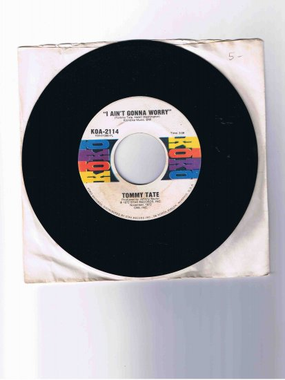 "Tommy Tate 45rpm single, ""I Ain't Gonna Worry"" / ""More Power to You"" (Stax, 1972), in sleeve"