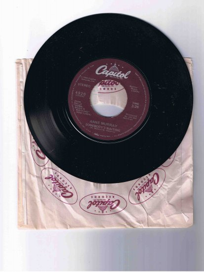"Anne Murray 45rpm single, ""Somebody's Waiting""/""Could I Have This Dance"" (1980) in sleeve"