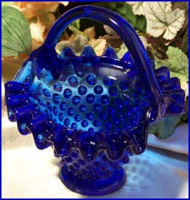 Cobalt Blue Hobnail Basket