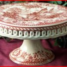 Red Porcelian Cake Plate