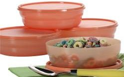 Tangerine Microwave Cereal Bowls Set of 4