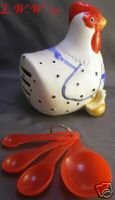 Hen and Chick Earthenware Measureing Spoon Set