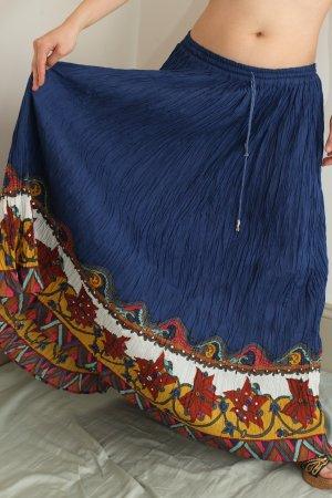 Blue Long Full Gypsy Peasant Boho Hippie Crinkle Skirt