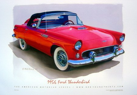 1956 Ford Thunderbird Tbird Red Poster NEW