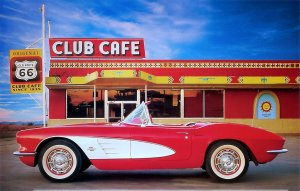 1961 Chevrolet Corvette Convertible Poster Route 66 NEW