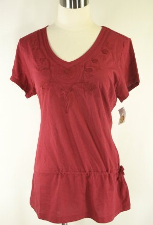 NWT NEW TALBOTS $38 RED JERSEY KNIT SHIRT TUNIC M 10 12