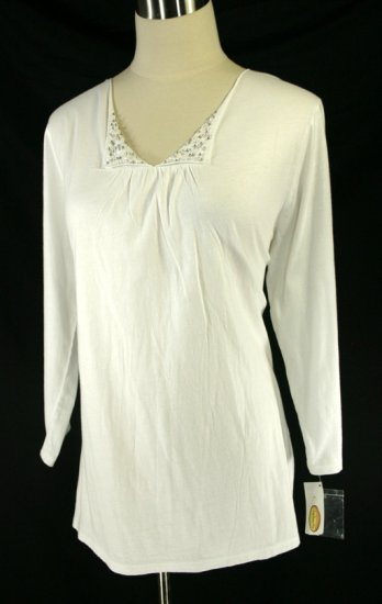NWT NEW TALBOTS EMBELLISHED BABY DOLL TUNIC TOP L 14 16