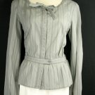 NWT NEW TALBOTS $58 GRAY STRIPED COTTON SHIRT XL 18 20