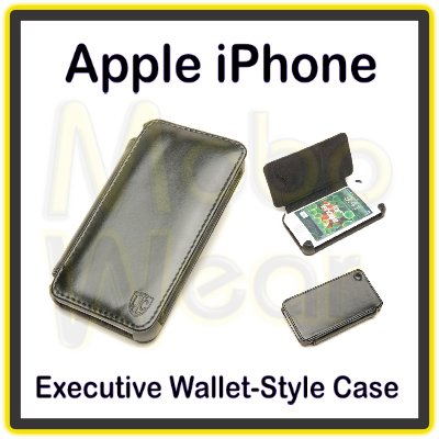 Black Premium Executive Wallet-Style Folio Case with Interior Card Slot for the Apple iPhone