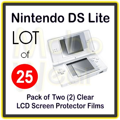 Wholesale Lot - 25 Packs of Clear LCD Screen Protector Films for Nintendo DS Lite/NDS Lite