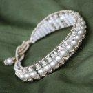 Gorgeous Bridal Wedding Swarovski Pearl Sterling Silver Wire-wrapped Cuff Bracelet