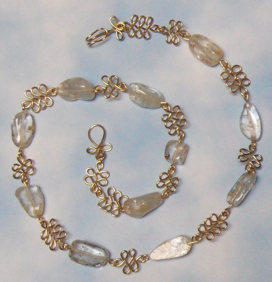 Handcrafted Wire-wrapped Gold and White Topaz Nugget Link Necklace