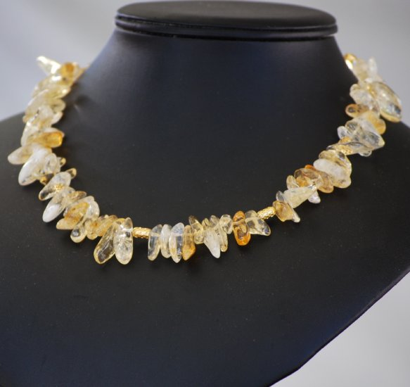 Golden Yellow Citrine Tusk Strand Gold Choker Necklace Handcrafted Wire Wrapped