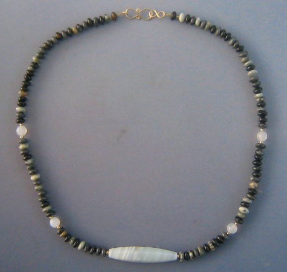 White Carnelian Choker Black Gray Jasper Gold Unisex Necklace