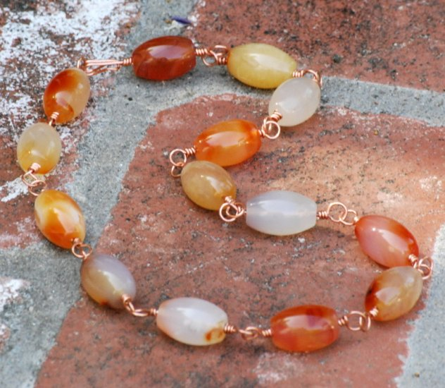 Chunky Carnelian Copper Choker Handcrafted Link Necklace