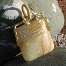Golden Colorado Amazonite Pendant Gold Wire Wrapped