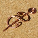 Snake CurveHandcrafted Hammered Copper Shawl Pin Brooch