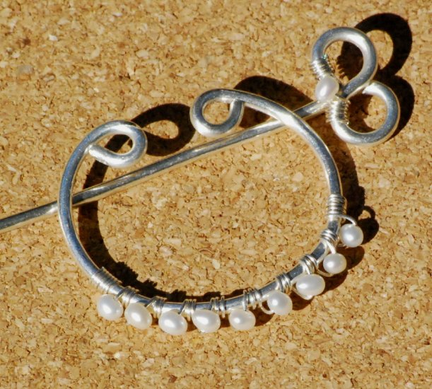 Freshwater Pearls on Curved Fine .999 Silver Shawl Pin Brooch Wire Wrap Handcrafted