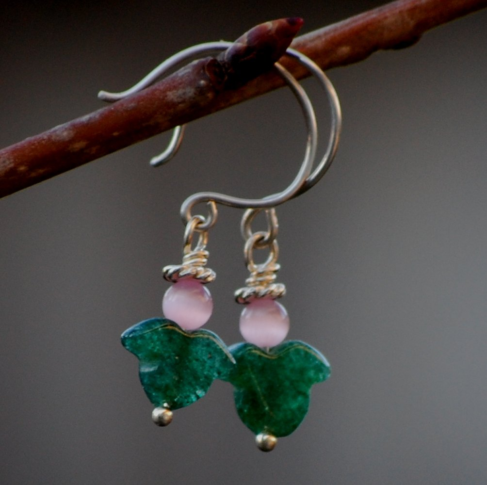 Handcrafted Angel Halo Earrings Pink Catseye Aventurine Sterling Silver