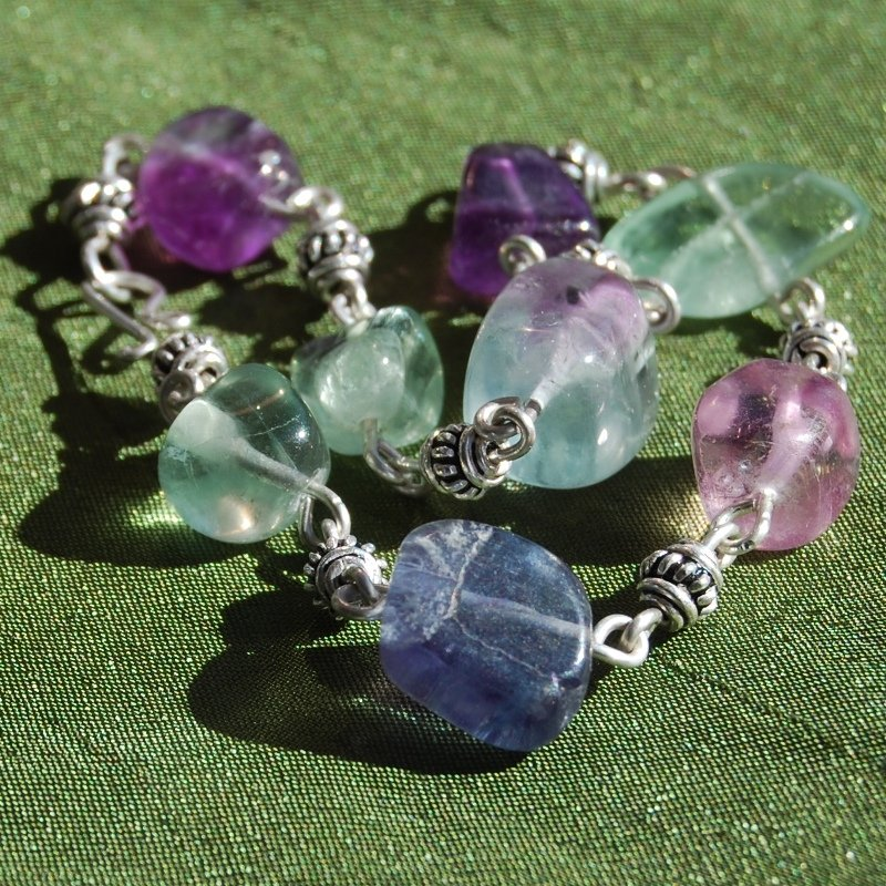 Purple Green Fluorite Sterling Silver Handcrafted Bracelet with Bali Silver