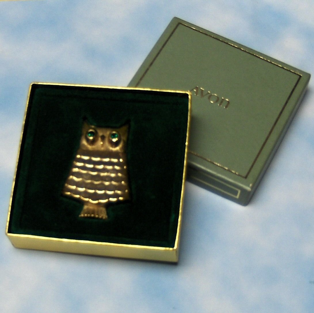Vintage Avon Owl Mint Pin Brooch Solid Perfume Goldtone Original Box