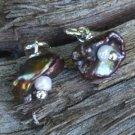 Peacock Pearl Flower Sterling Silver Post Stud Earrings Handcrafted