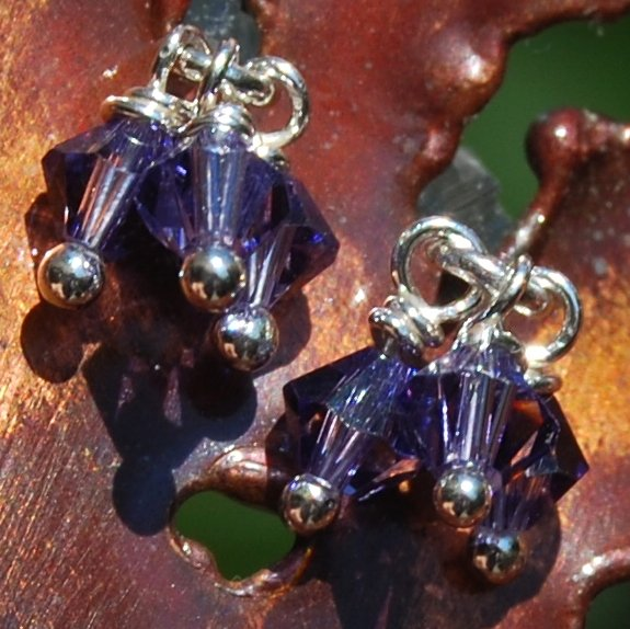Amethyst Swarovski Crystal Petite Dangle Sterling Silver Post Stud Earrings Handcrafted