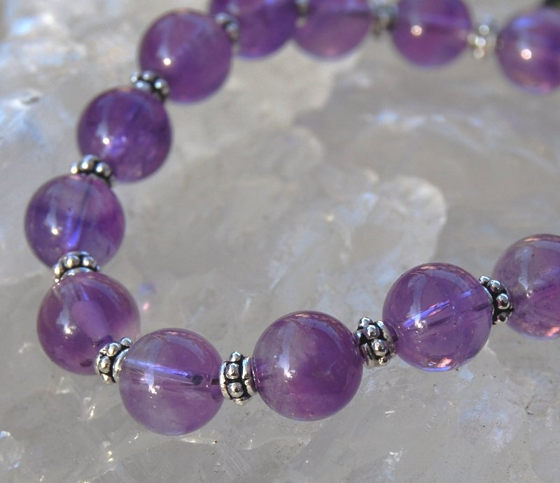 Amethyst Sterling Silver Bracelet Juicy Purple Handcrafted