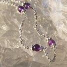 Amethyst in Sterling Silver Chain Bracelet Purple Handcrafted