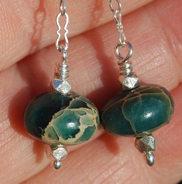 Aqua Terra Sterling Silver Chain Dangle Earrings Handcrafted