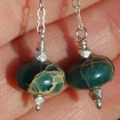 Aqua Terra Sterling Silver Chain Dangle Earrings Handcrafted