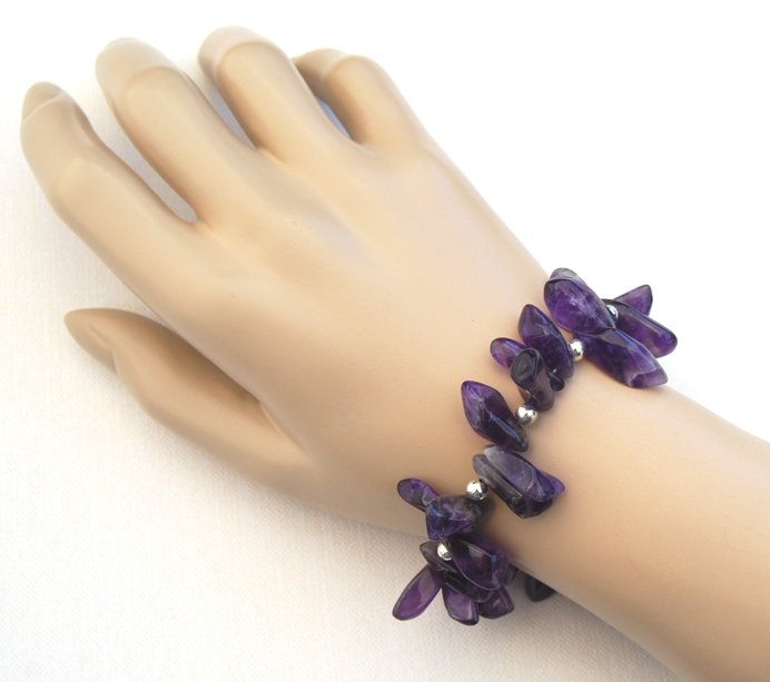 Amethyst Stick Sterling Silver Handcrafted Bracelet Royal Purple Statement