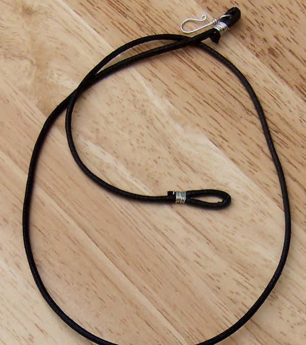 Black Waxed Cotton Cord Mens Womens Necklace Copper or Sterling Clasp