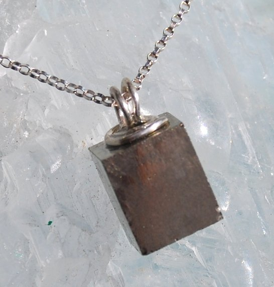 Natural Pyrite Cube Pendant Minimalist Handcrafted Sterling Silver Necklace
