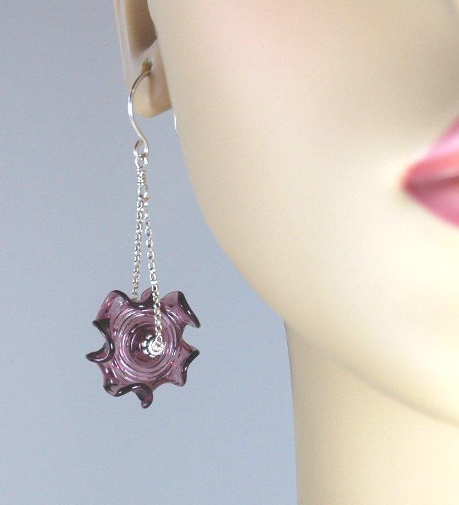 Purple Ruffles Glass Earrings Silver Chain Dangle Earrings