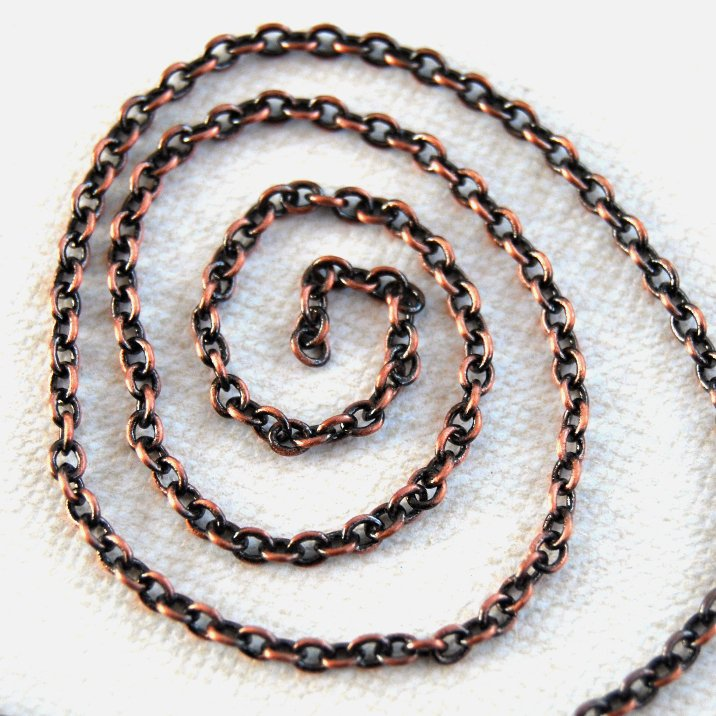"20"" Oxydized Copper Plated Cable Chain Necklace 20 inches"