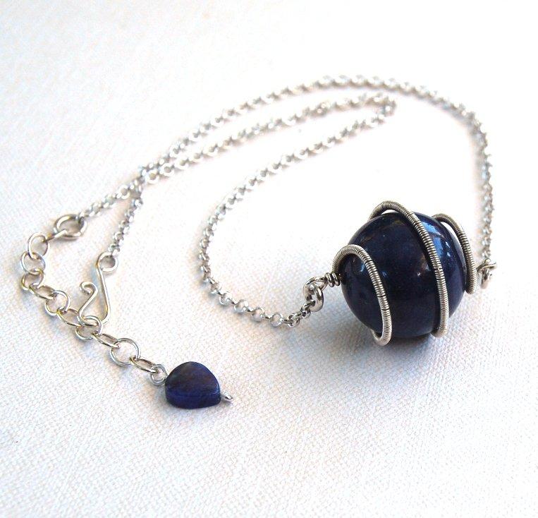 Denim Blue Necklace Dumortierite Spiral Pendant Sterling Silver
