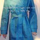 Debra Maguire LINEN TRENCH COAT Turqoise Belted 16