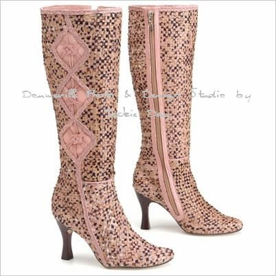 MIKALA TALL SHAFT WOVEN PINK BOOT FAUX-HAIR BOOT 8M