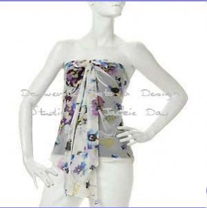 Susan Lucci Silk Chiffon Halter Camisole Silk Print Size 8
