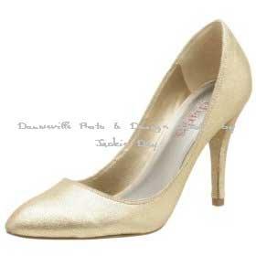 Charles David Distress Suede Gold Metalic Pump Shoe 6.5