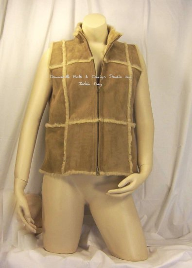 ISABELLA BIRD Cold Standard Genuine Shearling Leather Vest ALMOND SMALL