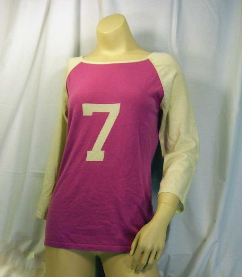 BERKLEY 100% Cashmere Rugby Style 7 Sweater PINK Medium