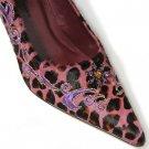 Diego Di Lucca VALENTINA Leopard Print Calf Hair PINK Shoe 6.5