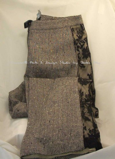 Victoria's Secret WOOL TWEED Black and White Side LACE Pant 8