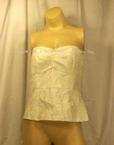 Susan Lucci Cotton Eyelet Bustier Size 6 White Item 208-976