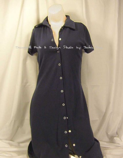 Victorias Secret Navy Short Snap-front polo t-shirt dress Medium
