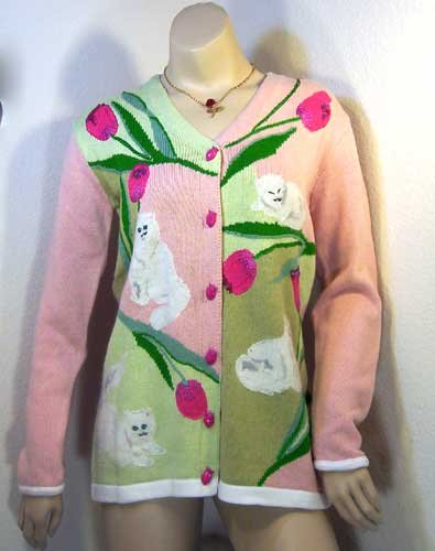 Limited Edition: Storybook Knits PERSIANS AMONG TULIPS Sweater Flower XS