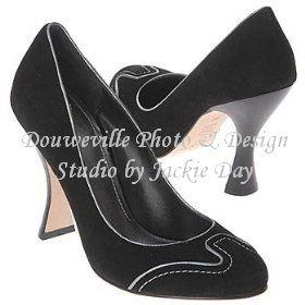 JOEY O Womens LEDAS Black Suede Pump Curved Heel 8M